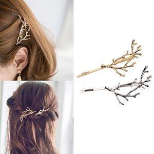 gold tree branch bobby pin hair clip